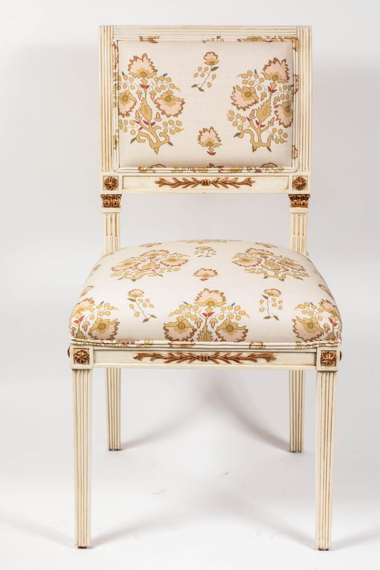 Other Set of 6 Dining Chairs Newly Upholstered in Penny Morrison 100% Linen For Sale