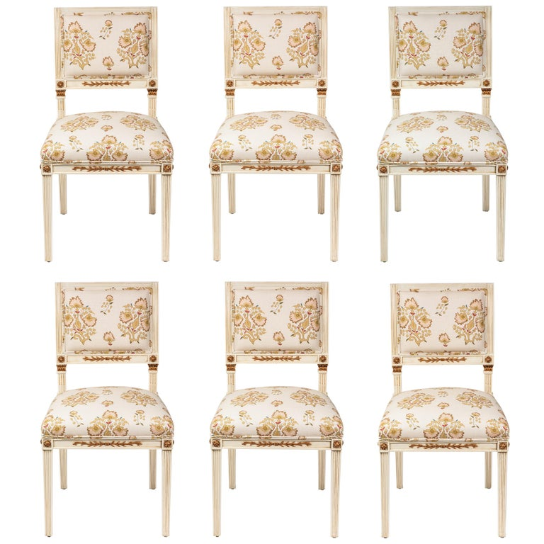 Set of 6 Dining Chairs Newly Upholstered in Penny Morrison 100% Linen For Sale