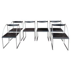 """Set of 6 Dining Chairs """"Patoz"""" by Francesco Soro Black Leather and Steel, 1980s"""