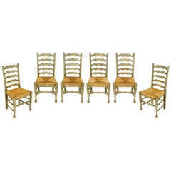Set of 6 Dining Chairs with Rush Seat