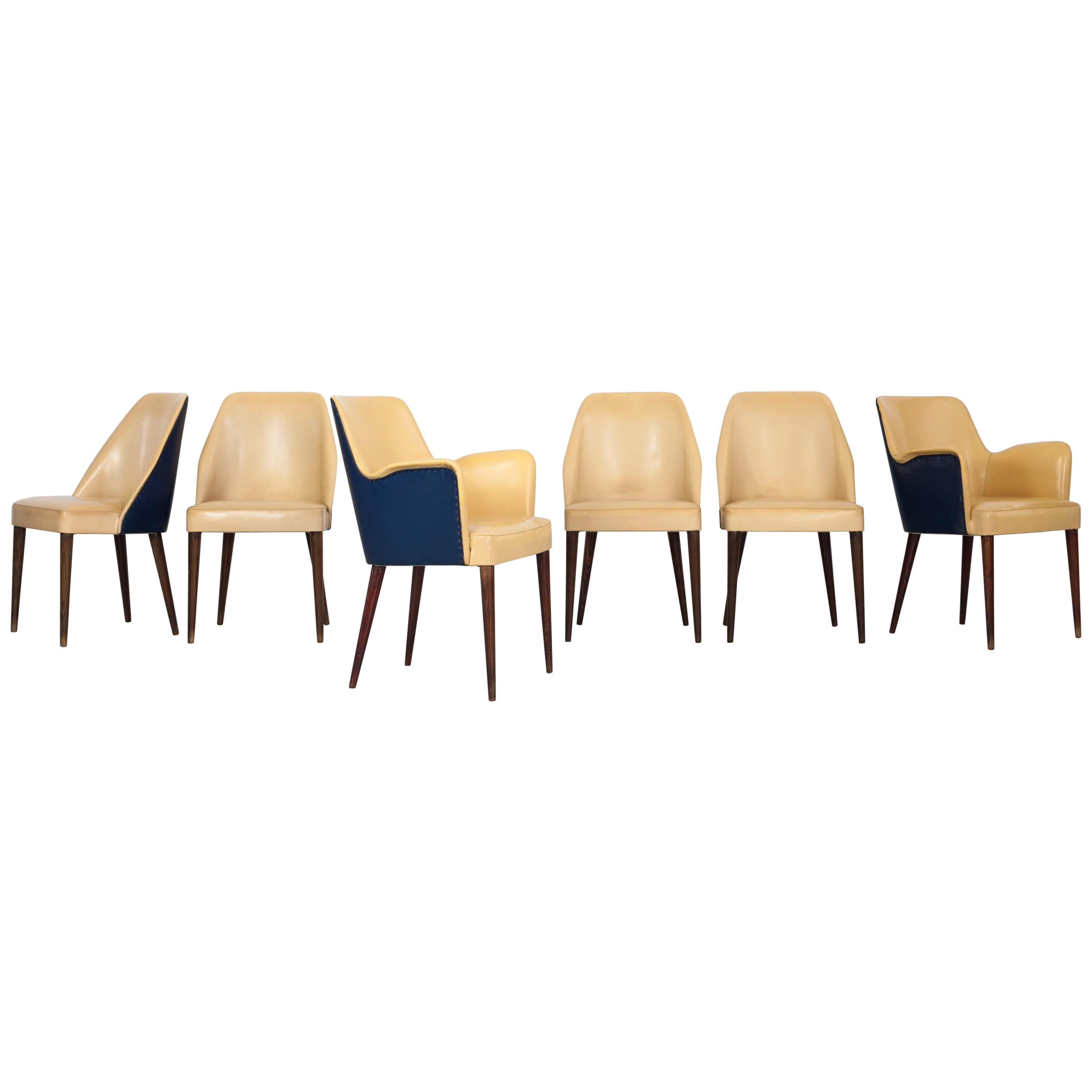 Set of 6 two-tone Dining Chairs, by Cassina in Italy 1950s