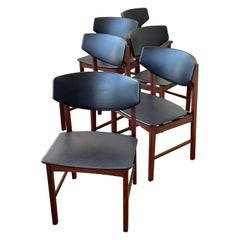 Set of 6 Dinning Chairs in Rosewood & Naugahyde Attributed to Borge Mogensen