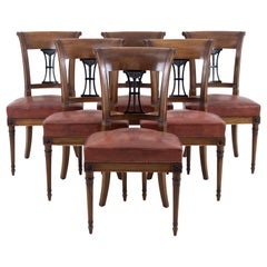 Set of 6 Directoire Style Chairs in Mahogany, Early 20th Century