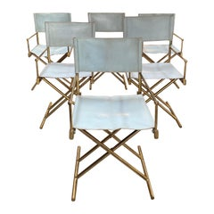 Set of 6 Director's Chair in Brass and White Leather, Italy, 1970s