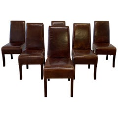 Set of 6 Distressed Brown Leather Parson Dining Chairs