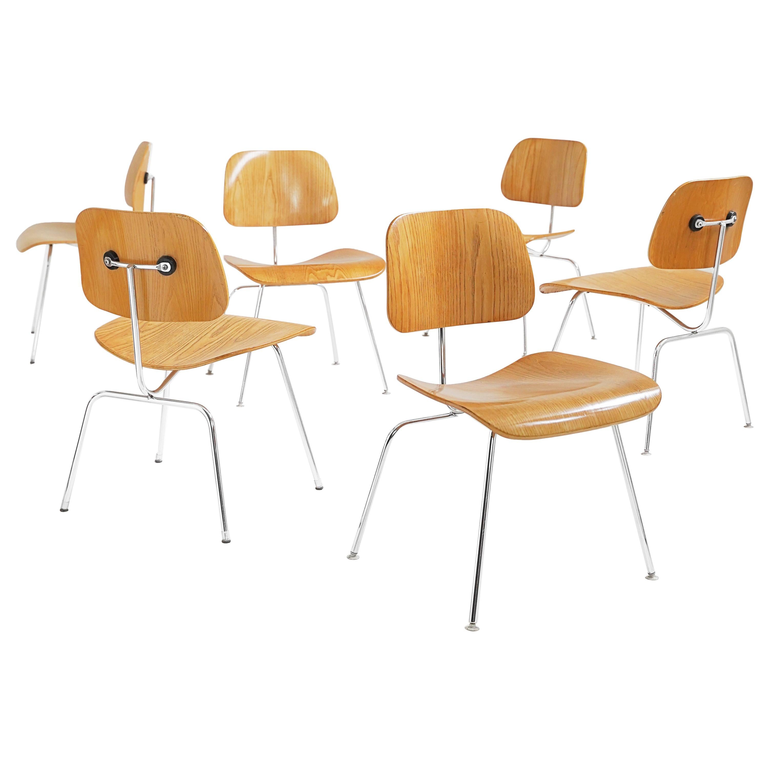 Set of 6 Eames Molded Plywood 'DCM' Chairs in Ash for Herman Miller