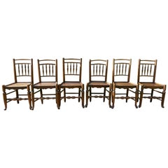 Set of 6 Early 19th Century Elm and Ash Country Chairs