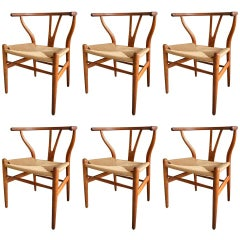 Set of 6 Early Original Hans Wegner CH24 Wishbone Chairs, circa 1955