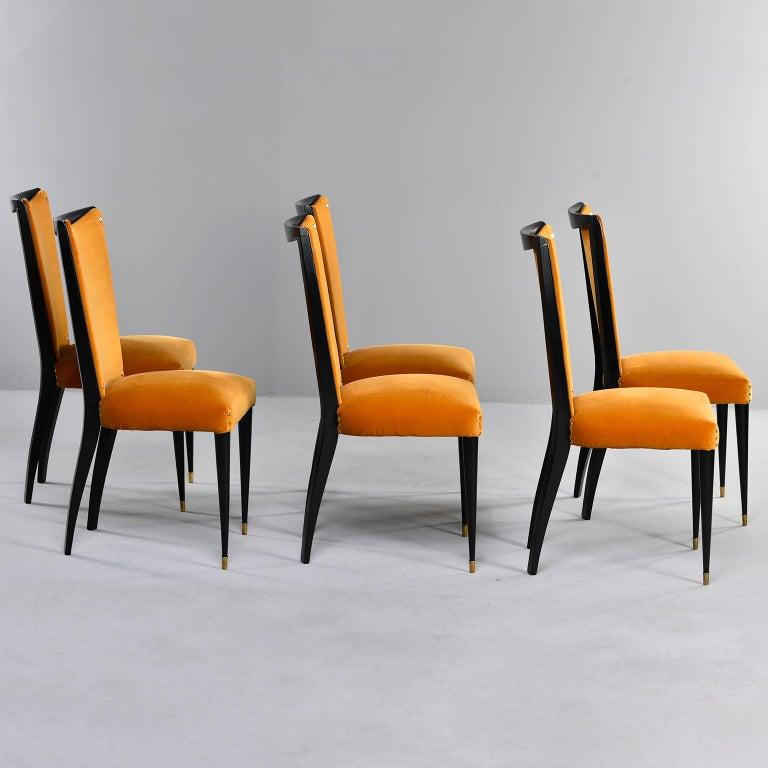 Set of 6 Ebonised Art Deco Chairs with Poppy Gold Velvet Upholstery For Sale 3