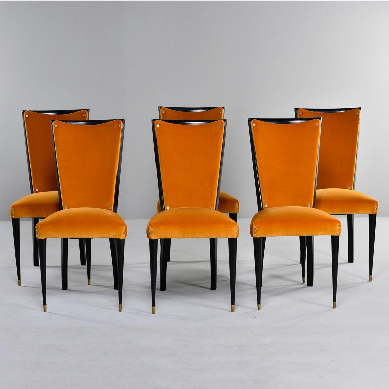 Set of 6 Ebonised Art Deco Chairs with Poppy Gold Velvet Upholstery For Sale 4