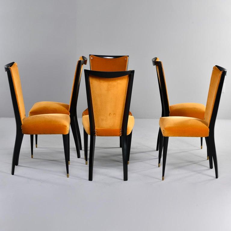 Set of 6 Ebonised Art Deco Chairs with Poppy Gold Velvet Upholstery For Sale 5