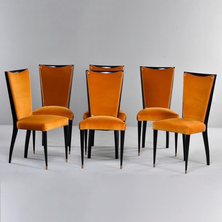Set of 6 Ebonised Art Deco Chairs with Poppy Gold Velvet Upholstery For Sale 6