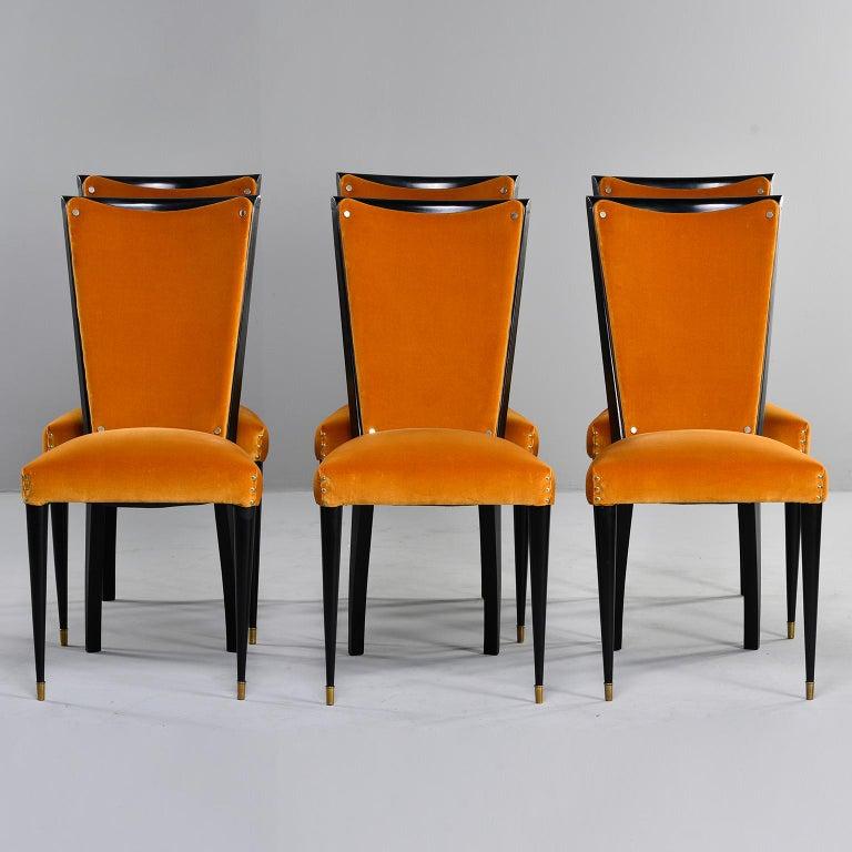 Set of 6 Ebonised Art Deco Chairs with Poppy Gold Velvet Upholstery For Sale 7