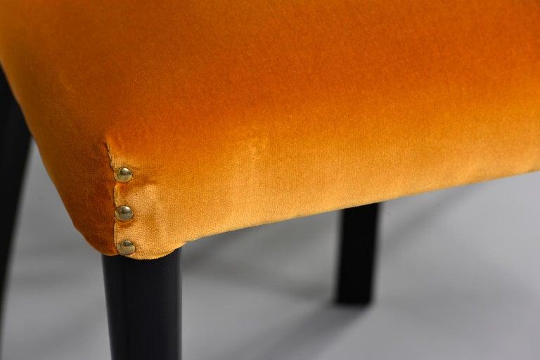 European Set of 6 Ebonised Art Deco Chairs with Poppy Gold Velvet Upholstery For Sale
