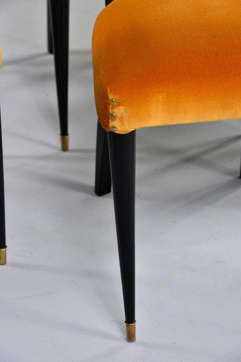 Ebonized Set of 6 Ebonised Art Deco Chairs with Poppy Gold Velvet Upholstery For Sale