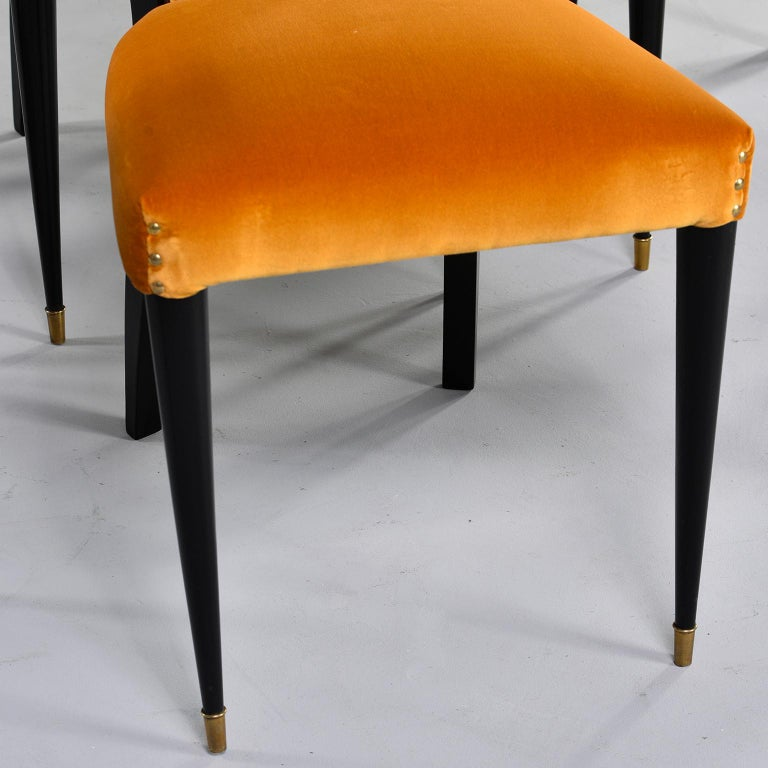 20th Century Set of 6 Ebonised Art Deco Chairs with Poppy Gold Velvet Upholstery For Sale