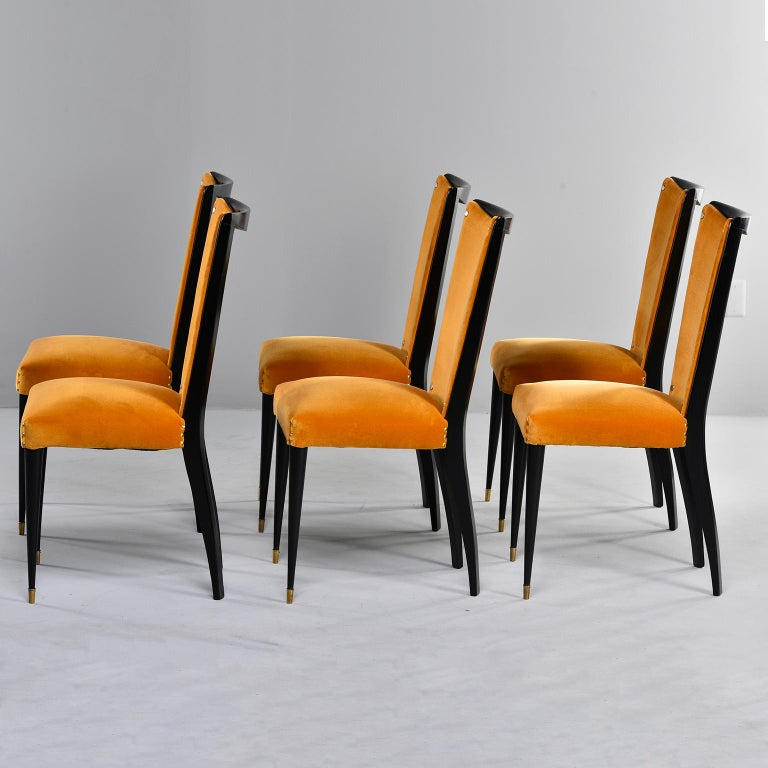Set of 6 Ebonised Art Deco Chairs with Poppy Gold Velvet Upholstery For Sale 1