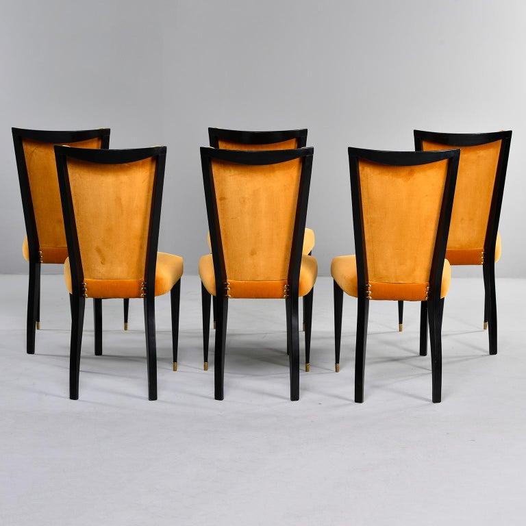 Set of 6 Ebonised Art Deco Chairs with Poppy Gold Velvet Upholstery For Sale 2