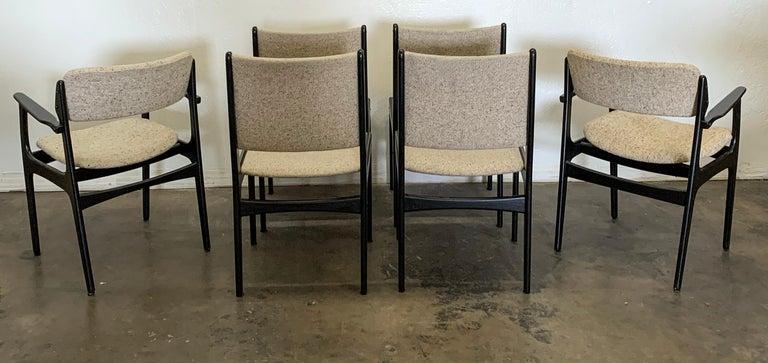 Mid-Century Modern Set of 6 Ebonized Dining Chairs by Erk Buch
