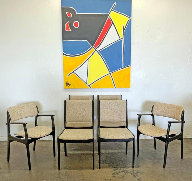Danish Set of 6 Ebonized Dining Chairs by Erk Buch