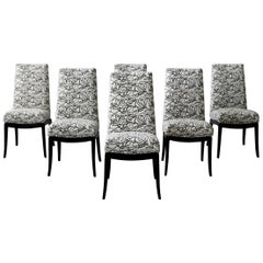 Set of 6 Ebonized Midcentury Dining Chairs