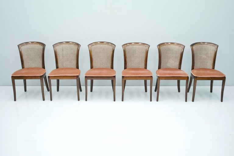 Set of 6 elegant chairs in mahogany and Cane WK, Germany, 1970s  Good to very good condition.