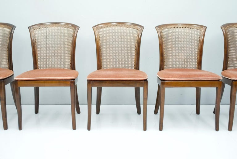 Mid-Century Modern Set of 6 Elegant Chairs in Mahogany and Cane WK, Germany, 1970s For Sale