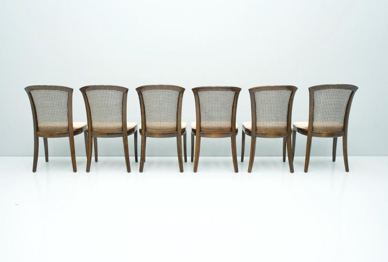 Set of 6 Elegant Chairs in Mahogany and Cane WK, Germany, 1970s In Good Condition For Sale In Frankfurt / Dreieich, DE