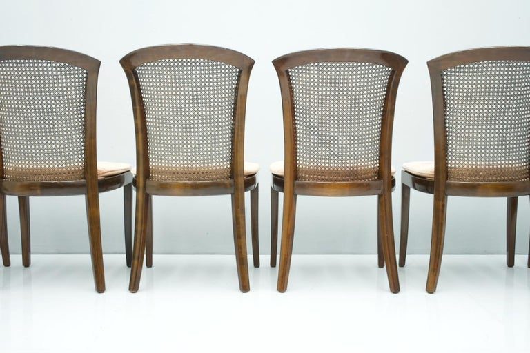 Late 20th Century Set of 6 Elegant Chairs in Mahogany and Cane WK, Germany, 1970s For Sale