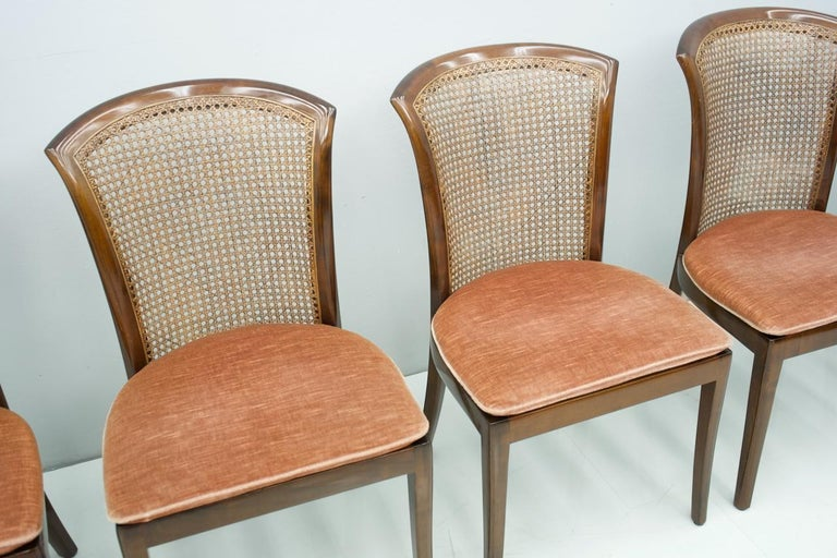 Fabric Set of 6 Elegant Chairs in Mahogany and Cane WK, Germany, 1970s For Sale
