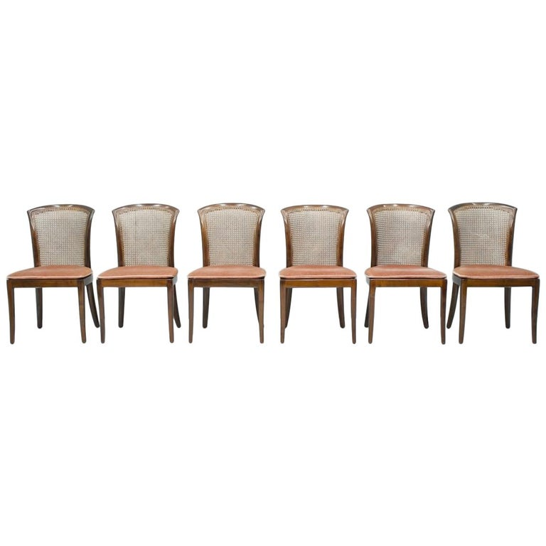 Set of 6 Elegant Chairs in Mahogany and Cane WK, Germany, 1970s For Sale