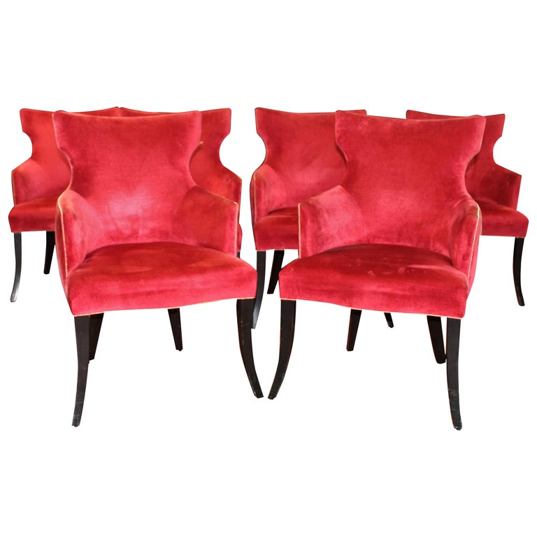 Set of 6 Elegant Dining Chairs in a Rich Red Velvet with Gold Welt Detail For Sale