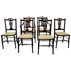 Set of 6 Elegant Edwardian Upholstered Dining Chairs