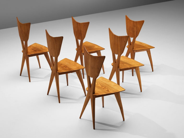 Set of 6 Elegant Italian Chairs in Stained Ash For Sale 5