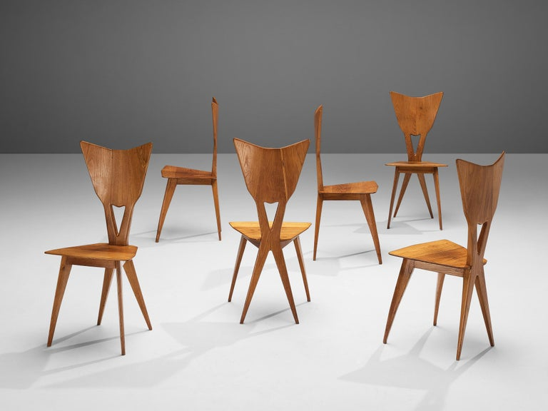 Set of 6 Elegant Italian Chairs in Stained Ash For Sale 6