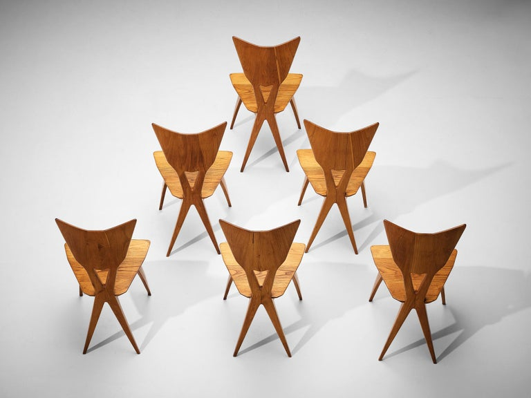 Set of 6 Elegant Italian Chairs in Stained Ash In Good Condition For Sale In Waalwijk, NL