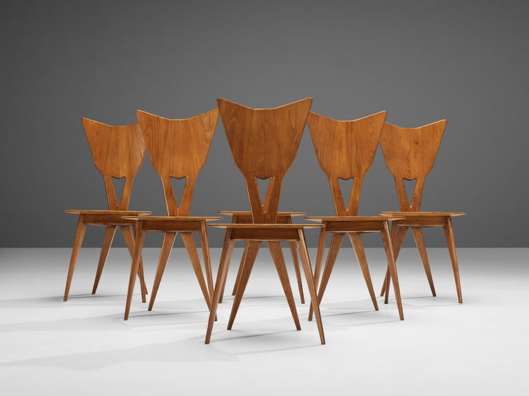 Set of 6 Elegant Italian Chairs in Stained Ash For Sale 1