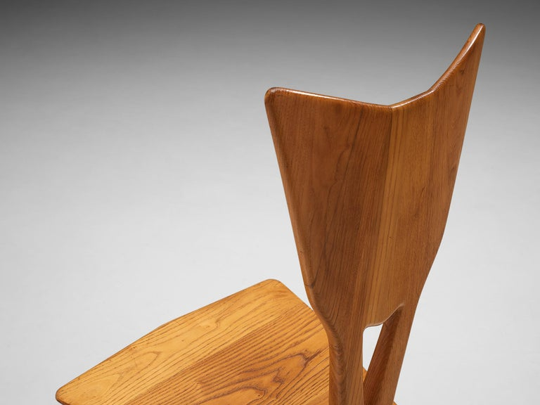 Set of 6 Elegant Italian Chairs in Stained Ash For Sale 2