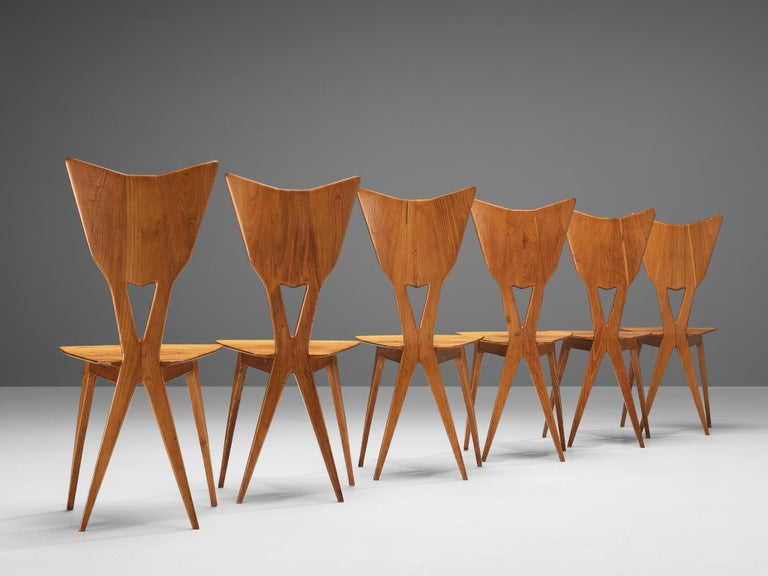 Set of 6 Elegant Italian Chairs in Stained Ash For Sale 3