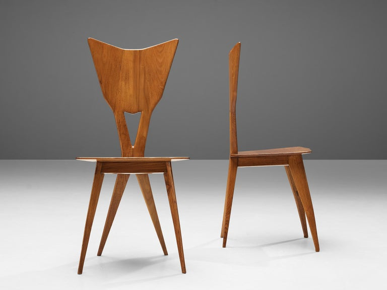 Set of 6 Elegant Italian Chairs in Stained Ash For Sale 4