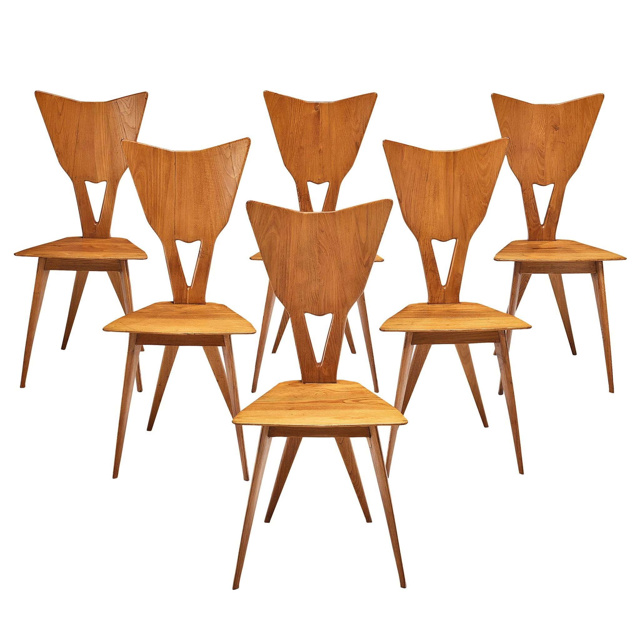 Set of 6 Elegant Italian Chairs in Stained Ash