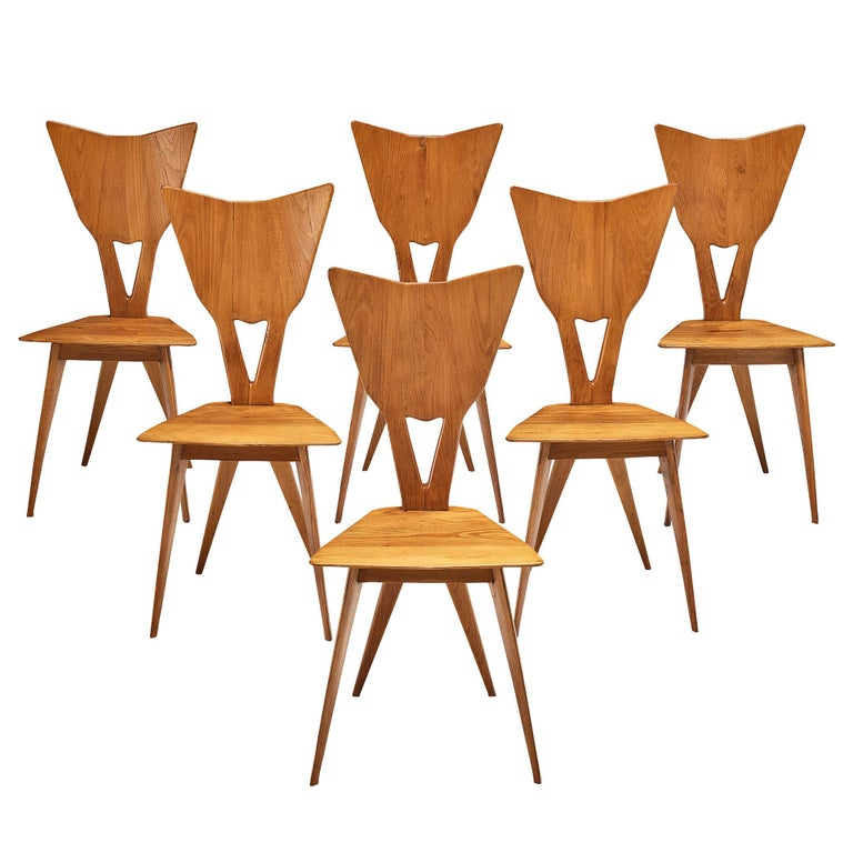 Set of 6 Elegant Italian Chairs in Stained Ash For Sale