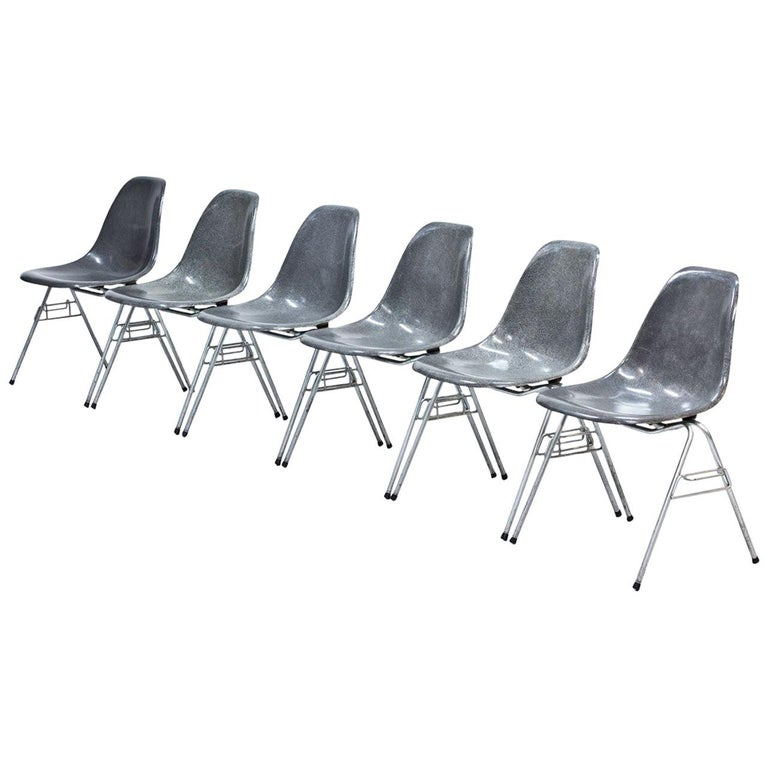 "Set of 6 Elephant Grey ""DSS"" Eames Chairs For Sale"