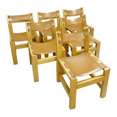 Set of 6 Elm and Leather Chairs in the Style of Pierre Chapo, 1960s