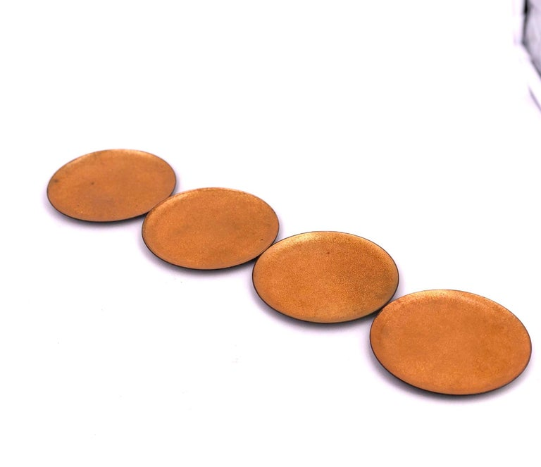 Nice set of 6 enameled on copper coasters in gold color circa 1960s, California design.