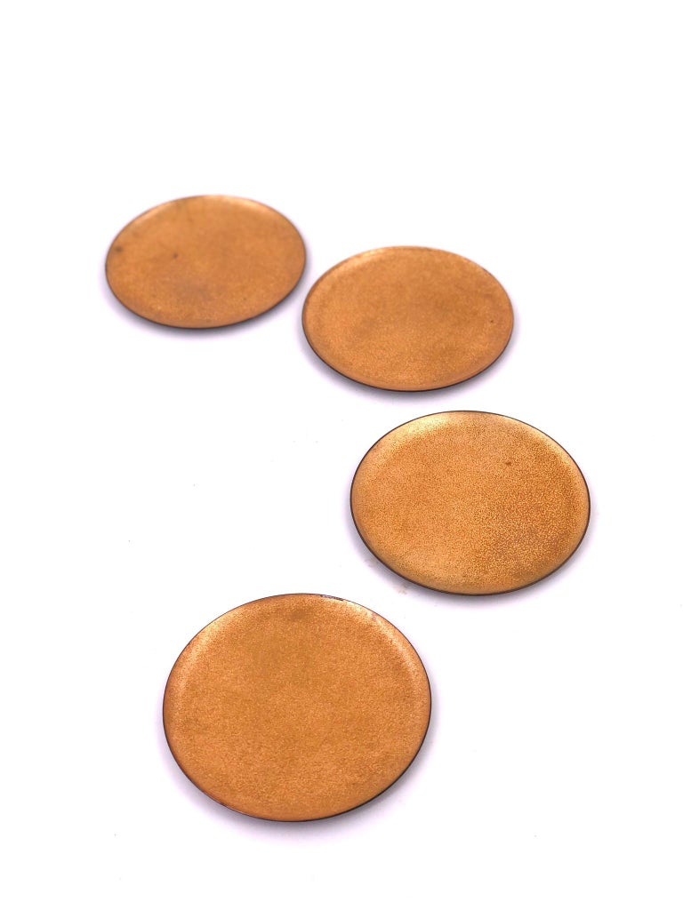 Mid-Century Modern Set of 6 Enameled on Copper Gold Coasters Midcentury California Design For Sale