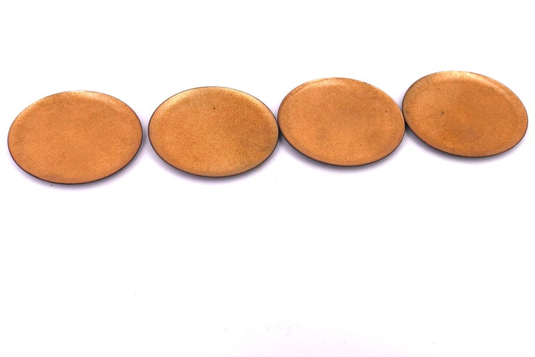American Set of 6 Enameled on Copper Gold Coasters Midcentury California Design For Sale