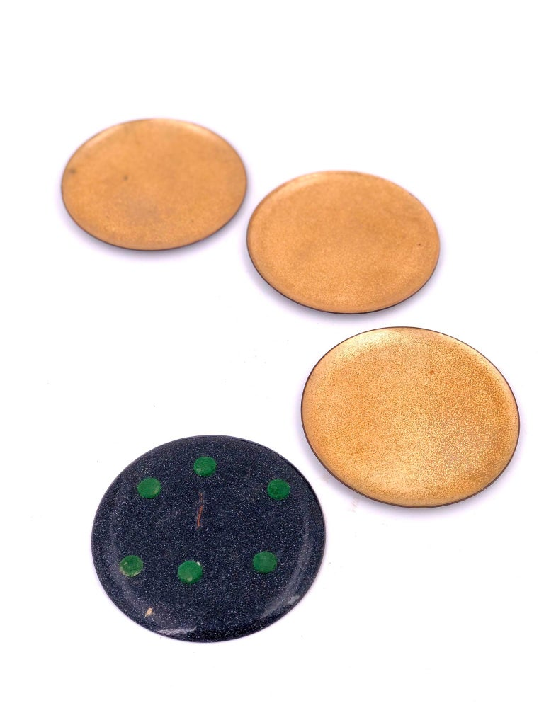 Set of 6 Enameled on Copper Gold Coasters Midcentury California Design In Excellent Condition For Sale In San Diego, CA