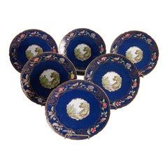 Set of 6 English Copeland Spode Pictorial & Gilt Porcelain Plates, 20th Century