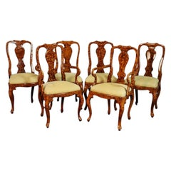 Set of 6 English Faux Tortoise Shell Decorated Georgian Style Dining Chairs